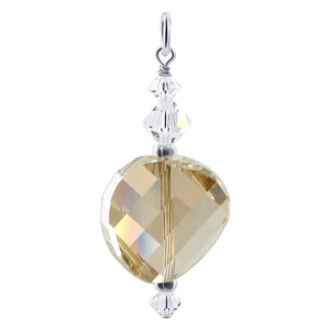 Multifaceted Yellow Crystal 925 Silver Charm Pendant