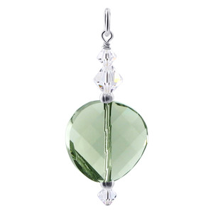 Multifaceted Green Crystal 925 Silver Charm Pendant