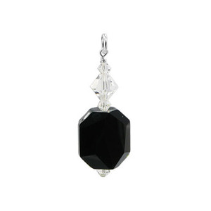Swarovski Elements Black Crystal Sterling Silver Pendant