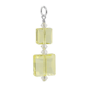 Multi Square Shape Swarovski Elements Yellow Crystal Sterling Silver Charm Pendant