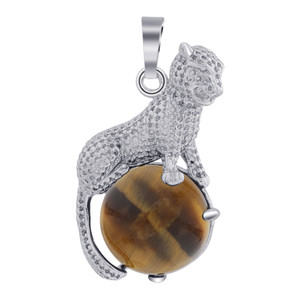 Cheetah Genuine Tiger Eye Gemstone Pendant