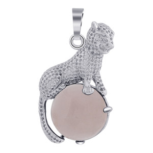 Cheetah Genuine Rose Quartz Gemstone Pendant