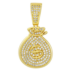 Gold over Sterling Silver CZ Money Bag Pendant