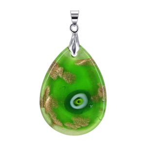 Green Glass Stainless Steel Bail Pendant