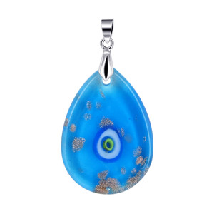 Blue Glass Stainless Steel Bail Pendant
