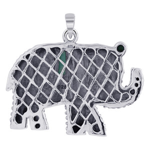 Rhodium Plated 925 Sterling Silver Elephant Bali Design Simulated Turquoise Pendant