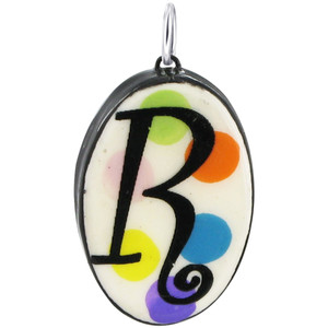"Oval Ceramic with Hand Painted Alphabet Initial ""R"" in Sterling Silver Bail Pendant"
