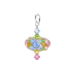 Crystal and Blown Glass 925 Silver Charm Pendant