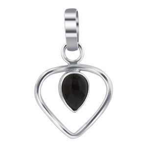 Pear Shape Black Onyx 925 Silver Heart Pendant