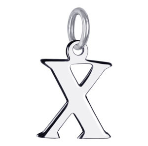 Sterling Silver Initial X Charm Pendant