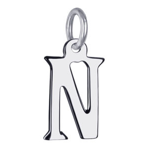 Sterling Silver Initial N Charm Pendant