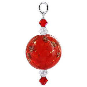 Red Lampwork Flower Design Glass Bead Swarovski Elements Crystal Sterling Silver Charm Pendant