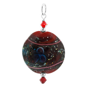 Lampwork Red Foil Glass with Crystal 925 Silver Pendant