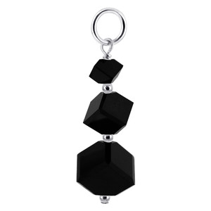 Cube Shape Black Swarovski Elements Crystal Sterling Silver Charm Pendant