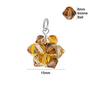 Yellow Bicone Ball Shape Crystal 925 Silver Pendant
