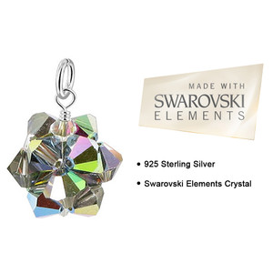 Vitrail Bicone Ball Shape Crystal 925 Silver Pendant