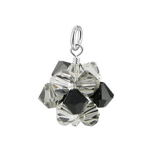 Black Bicone Ball Shape Crystal 925 Silver Pendant