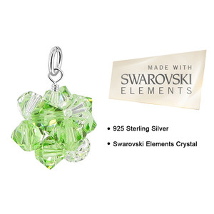 Green and Clear AB Bicone Crystal 925 Silver Pendant
