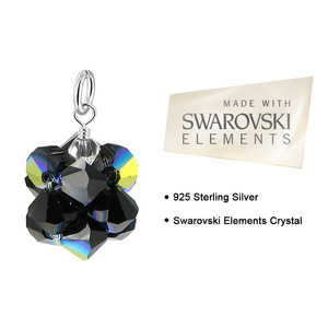 Bicone Ball Black Crystal 925 Silver Charm Pendant