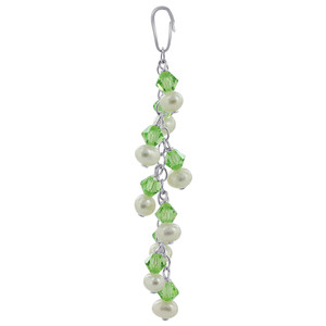 White Freshwater Pearls with Green Bicone Sterling Silver Pendant