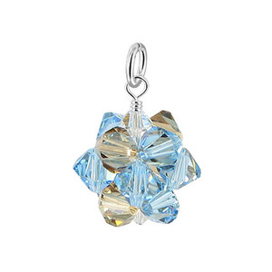 Bicone Ball Shape Crystal 925 Silver Pendant