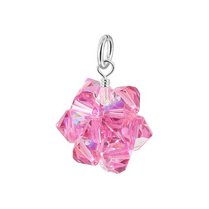Pink & Clear Bicone Ball Shape Crystal 925 Silver Pendant