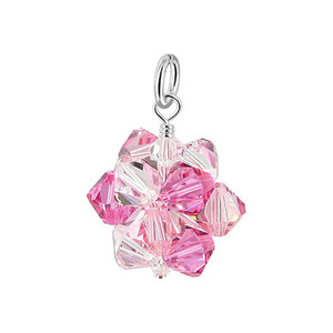 Pink & Clear AB Bicone Ball Shape Crystal 925 Silver Pendant