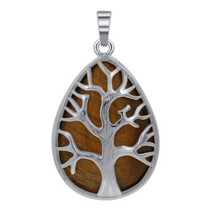 Pear Tree of Life Tiger Eye Pendant