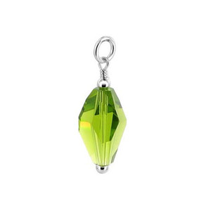 Green Polygon Shape Crystal Sterling Silver Pendant