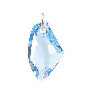 Multifaceted Blue Crystal 925 Silver Charm Pendant