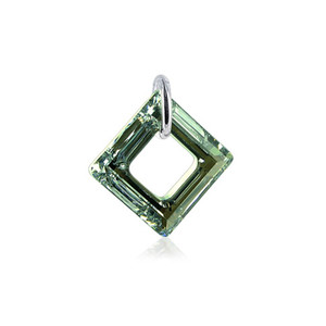 Square Shape Sahara Swarovski Elements Crystal Sterling Silver Charm Pendant