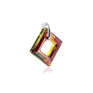 Square Shape Brown Swarovski Elements Crystal Sterling Silver Charm Pendant