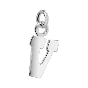 V Initial Sterling Silver Charm Pendant