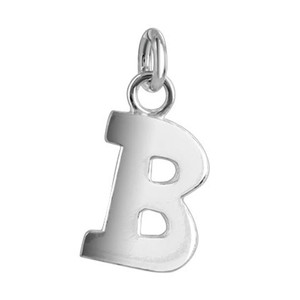 B Initial Sterling Silver Pendant Charm
