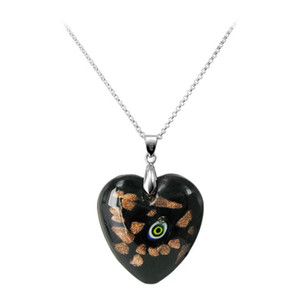 Black Floral Designed Thick Heart Glass Stainless Steel Bail Pendant