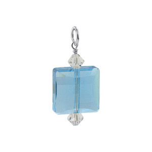 Square Shape Blue Swarovski Elements Crystal Sterling Silver Charm Pendant