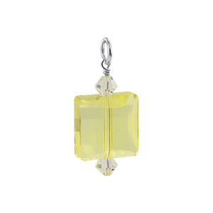 Square Shape Yellow Swarovski Elements Crystal Sterling Silver Charm Pendant