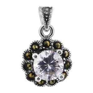 Cubic Zirconia Sterling Silver Pendant