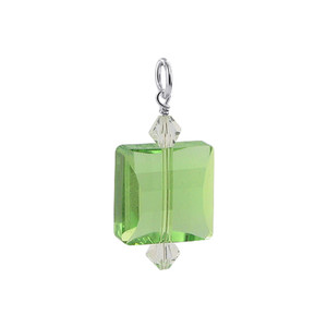 Square Shape Green Crystal 925 Silver Charm Pendant