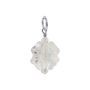 Flower Shape Clear Crystal 925 Silver Pendant