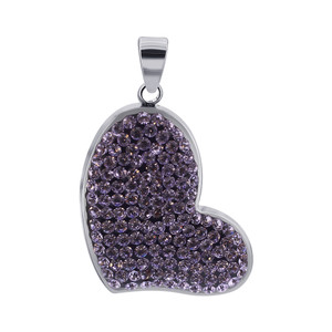Lavender Cubic Zirconia CZ Heart 925 Sterling Silver Pendant