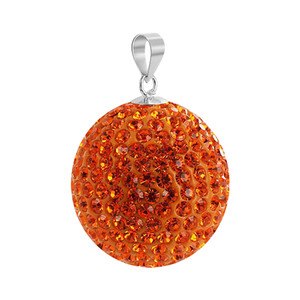 Round Sun Orange Disco Ball 925 Silver Pendant