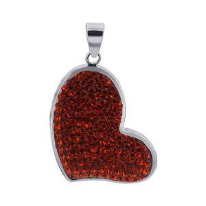 Bright Orange Cubic Zirconia CZ Heart 925 Sterling Silver Pendant