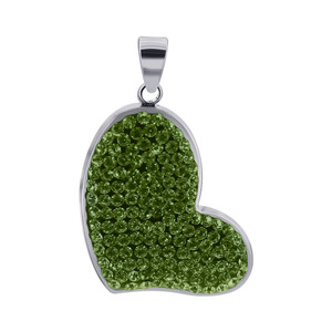 Lime Green Cubic Zirconia Heart 925 Sterling Silver Pendant