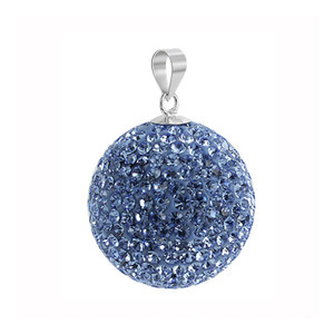 Round Light Purple Disco Ball Sterling Silver Pendant