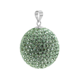 Round Chrysolite Disco Ball Sterling Silver Pendant
