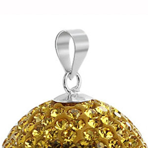 Yellow Disco Ball Round Sterling Silver Pendant