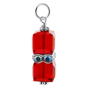 Cube  Red Crystal Sterling Silver Charm Pendant