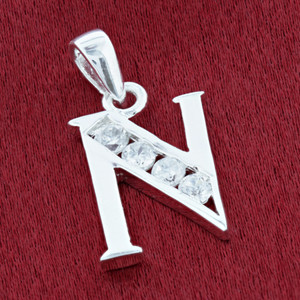 Round CZ Sterling Silver Initial N Pendant