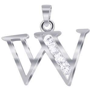 Round CZ Sterling Silver Initial W Pendant